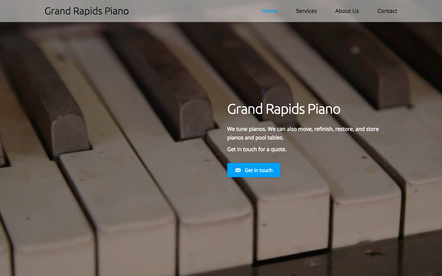 Web design and development for Grand Rapids Piano