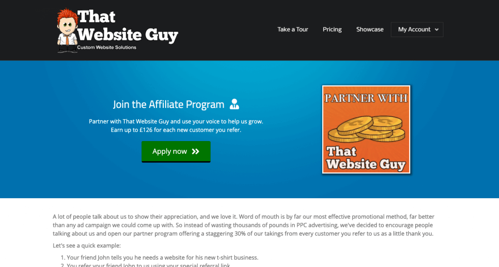 That Website Guy Affiliate Program page